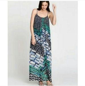 Nic+Zoe maxi long green dress nwt